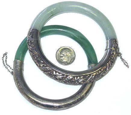 11: Two Silver and Green Jade Estate Bangle Bracelets