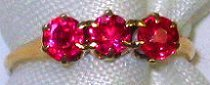 13: 10kt Gold Estate Ring w Synthetic Ruby size 6