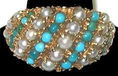 90: 14kt Gold Estate Ring w Seed Pearl/Turquoise Band