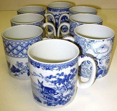 354: 8 Spode Blue Room Mugs Greek/Aesops Fables/Rose