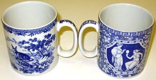 354: 8 Spode Blue Room Mugs Greek/Aesops Fables/Rose - 2