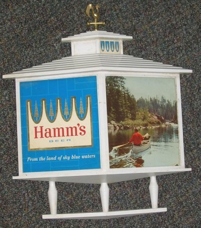 800: Vintage Hamms Beer Wall Sign/Plaque Canoe on Lake