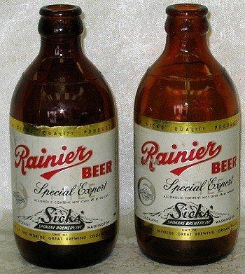 805: 2 Old Rainier  Beer Bottles SPOKANE WA Brewery