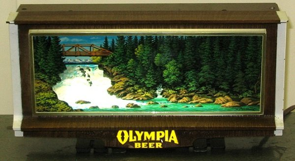 807: Vintage Olympia Beer Waterfall Motion Bar Sign