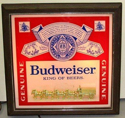 809: Vintage Budweiser Beer Light-up Bar Sign w Horses