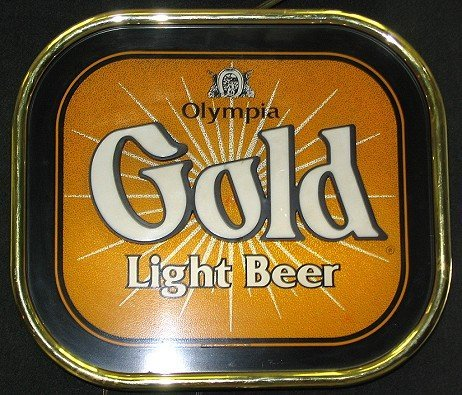813: Vintage Olympia Beer Gold Light-up Beer Sign