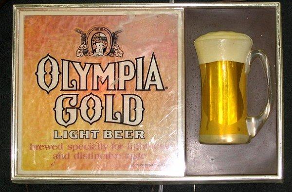 815: Vintage Olympia Gold Light-up Beer Sign w Mug