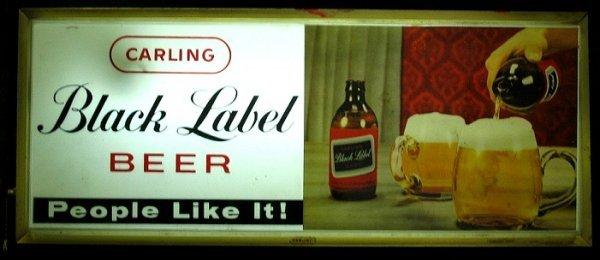 816: Vintage Fluorescent Black Label Beer Sign