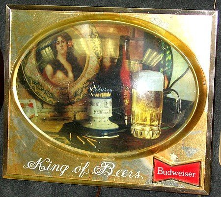817: Vintage Budweiser Bubble or Dome Beer Sign