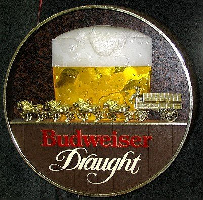 819: Vintage Budweiser Beer Sign w Clydesdale Horses