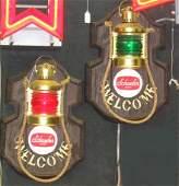 850: 2 Schaefer Beer Nautical Lantern Style Beer Signs