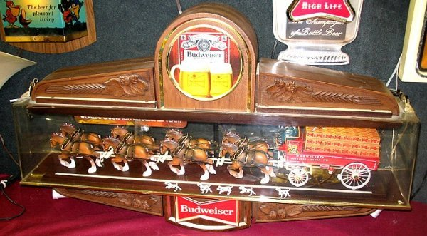 859: Vintage Budweiser Beer Hanging Sign w Clydesdale