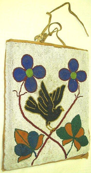 1027: Antique Plateau Indian Beaded Bag~Floral w Crow