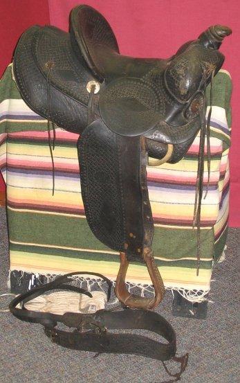 1050: Old Fred Mueller Highback Western Saddle~Denver