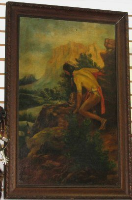1060: c1908 Antique Western Painting~Indian on Cliff