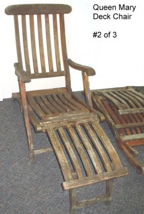 1068 antique rms queen mary 1st class deck chair 2of3