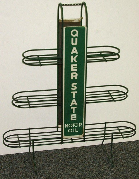 1091: Vintage Quaker State Oil Can Display Rack