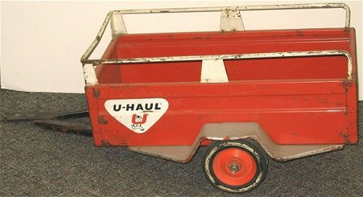 1093: Vintage U-Haul Pedal Car Toy Trailer