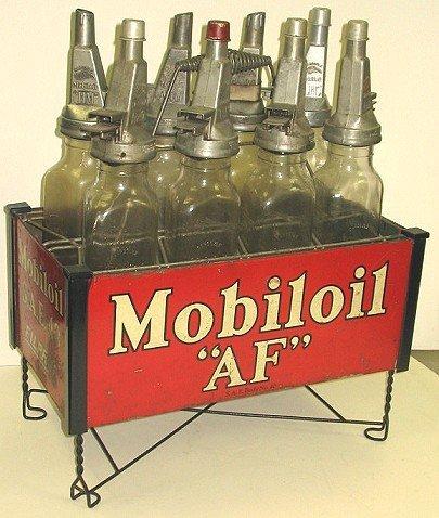 1124: 8 Rare Mobiloil Gargoyle Filpruf Oil Bottles AND
