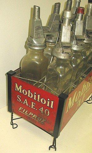 1124: 8 Rare Mobiloil Gargoyle Filpruf Oil Bottles AND - 2