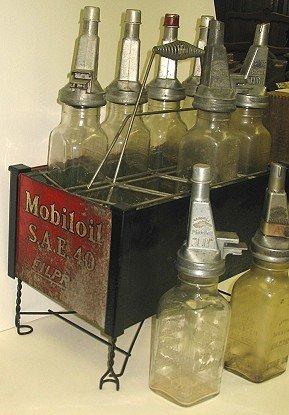 1124: 8 Rare Mobiloil Gargoyle Filpruf Oil Bottles AND - 3