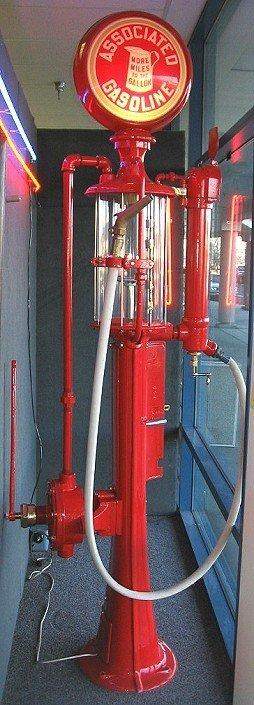 1132: Rare c1915 Fry Visible Gas Pump Associated Petro