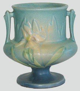 402: Vintage Roseville Blue Iris Pedestal Vase