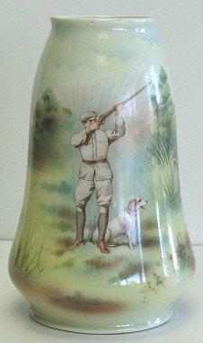 "417: 7"" Royal Bayreuth Vase w Duck Hunting Scene & Dog"