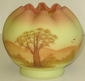 419: Fenton Burmese Hand Painted Rose Bowl