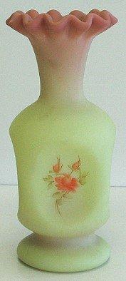 421: Fenton Hand Painted Burmese Glass Vase w Roses