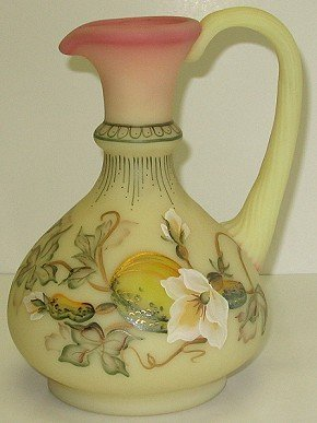 """423: Fenton Burmese Art Glass Hand-Painted 7"""" Pitcher"""