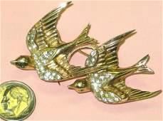 458 Vint Coro Duette Sterling Brooch Fur Pins w Birds