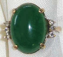 510: 14kt Gold & Green Jade Cabochon Estate Ring