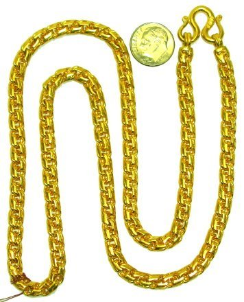"""544: Heavy 18kt Gold 25"""" Wide Rope Chain 112 grams!"""