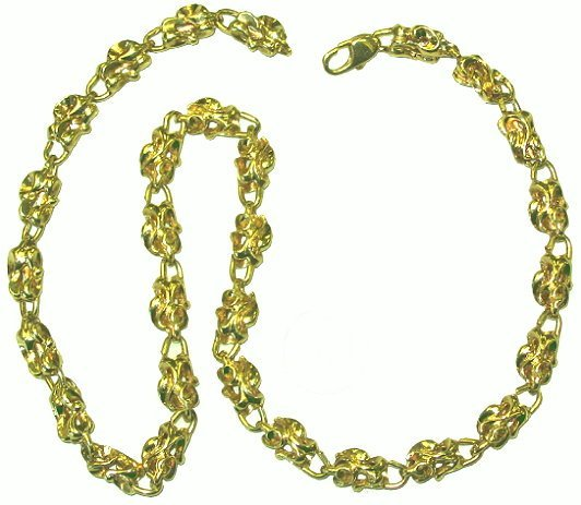 548: 14kt Gold Custom Made Shaped Link Chain 66 grams