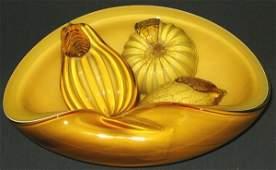 576 Vintage Murano Art Glass Bowl w Glass FruitAmber