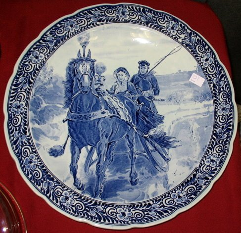 1: Huge Blue Delft Charger/Wall Plate~Horse & Sleigh