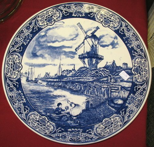 2: Vintage Blue Delft Charger/Wall Plate ~Windmill