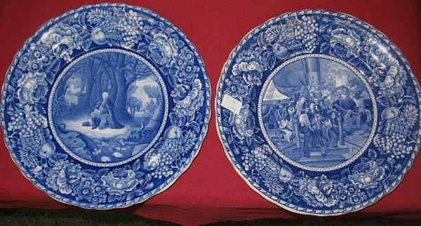3: 2 Blue & White Staffordshire Historical Plates R&M