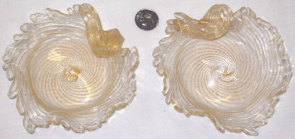 13: Pair of Small Vintage Italian Art Glass Dishes