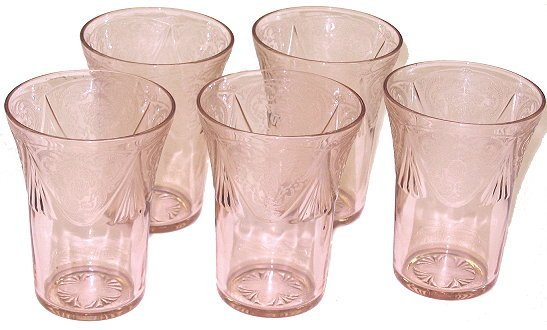 """17: 5 Pink Royal Lace Depression Glass 4"""" Tumblers"""