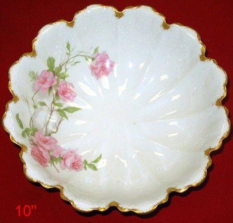 20: Large Haviland Limoges Bowl w Pink Roses