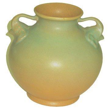 22: Arts & Crafts Era Rumrill Pottery Vase w Elephant