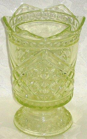 23: EAPG Vaseline Glass Spooner-Daisy & Button Variant