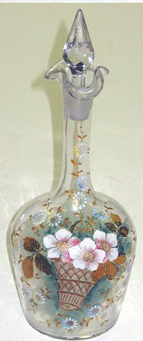 24: Victorian Moser Glass Enameled Decanter~Florals
