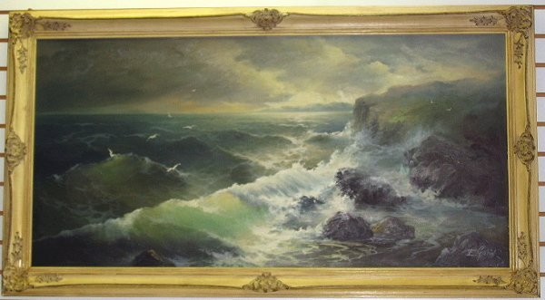 117: Large Eugene Garin Original Seascape Painting