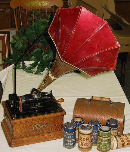 162: Antique Edison Fireside 2&4 M Cylinder Phonograph