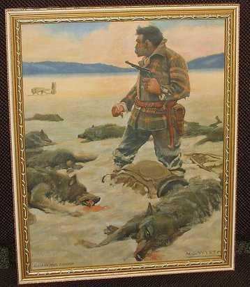 b67471e8835 221  Bloody Old NC Wyeth Print Alaskan Mail Man   Wolf