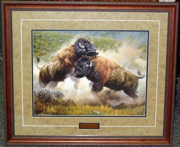 """228: Framed L/E Buffalo Print by Barbara Peets """"Rivals"""""""