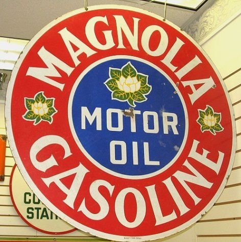341: Old Porcelain MAGNOLIA Gas & Motor Oil Sign-42""